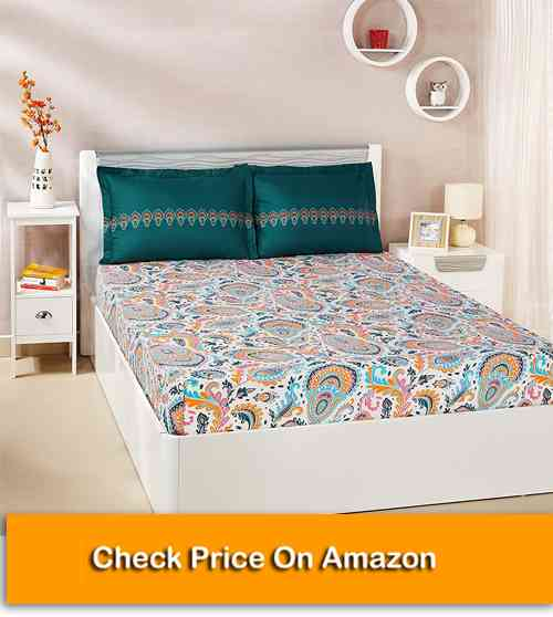 Solimo Paisley Preen 100% Cotton Best Affordable Bed Sheet