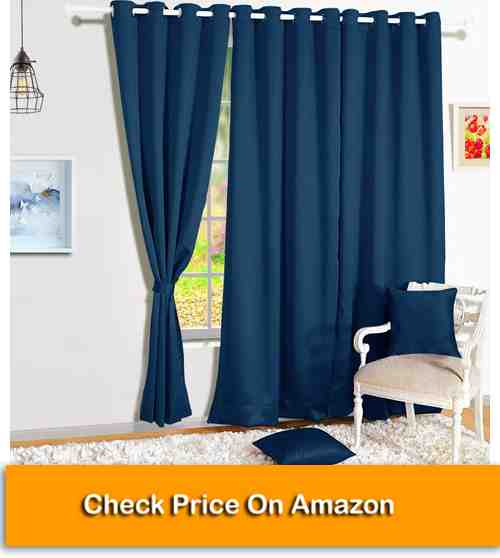 Home Blackout Eyelet 4 Piece Faux Silk Ring top Door Curtain